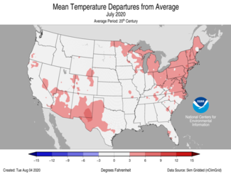 July 2020 US Mean Temperature Departures from Average Map
