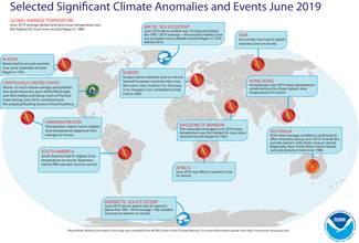 Map of global selected significant climate anomalies and events for June 2019