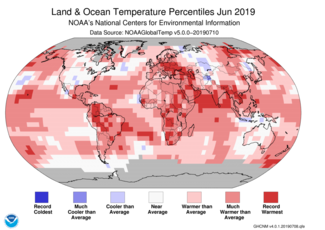 Map of global temperature percentiles for June 2019