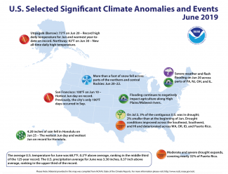 Map of U.S. selected significant climate anomalies and events for June 2019
