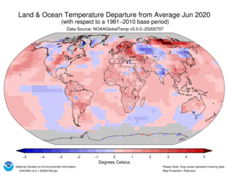 June 2020 Global Land and Ocean Temperature Departures from Average Map