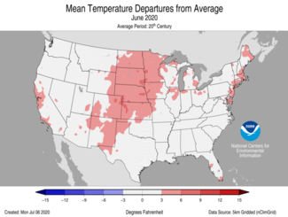 June 2020 US Average Temperature Departures from Average Map