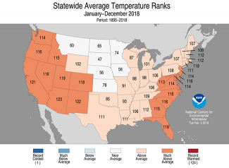 Map of U.S. statewide average temperature ranks for 2018