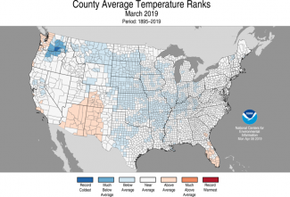 Map of average county temperature ranks in the U.S. for March 2019