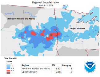 Map of April 9, 2019, to April 12, 2019, Regional Snowfall Index in the Northern U.S.