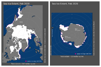 Maps of Arctic and Antarctic sea ice extent in February 2020