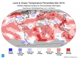 Map of global temperature percentiles for March 2019