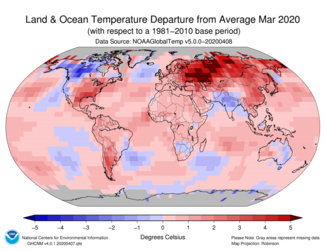 March 2020 Global Temperature Departure from Average Map
