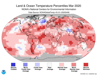 March 2020 Global Temperature Percentiles Map