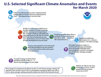 March 2020 U.S. Significant Climate Events Map