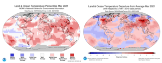 March 2021 Global Temperature Percentile Map and Global Temperature Departure from Average Map