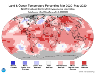 March-May 2020 Global Temperature Percentiles Map
