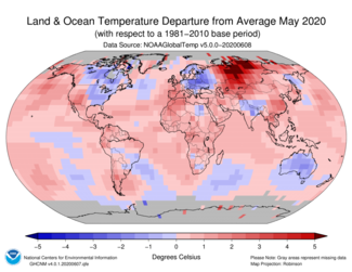May 2020 Global Temperature Departures from Average Map