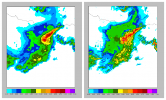 Graphic comparing resolution of precipitation data from NEXRAD QPE Climate Data Record. Courtesy of NOAA NCEI.