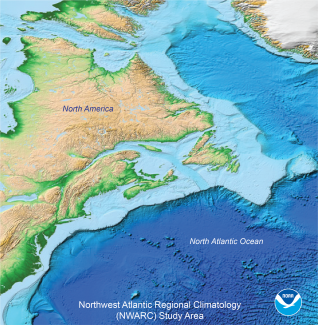 Map of Northwest Atlantic Ocean off the coast of Northeast United States