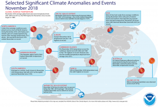 Map of global selected significant climate anomalies and events for November 2018