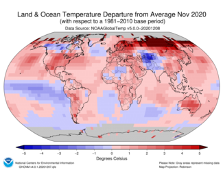 November 2020 Global Departures from Average Map