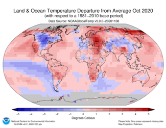 October 2020 Global Temperature Departures from Average Map
