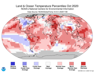 October 2020 Global Temperature Percentiles Map