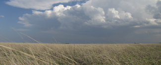 Photo of clouds over Texas Panhandle grassland by Susan Cobb for NOAA
