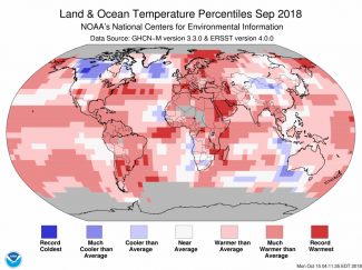 Map of global temperature percentiles for September 2018