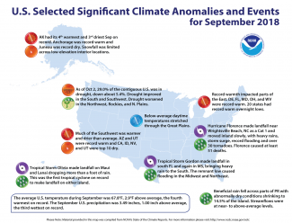 Map of U.S. selected significant climate anomalies and events for September 2018