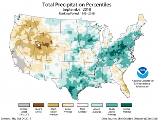 Map of September 2018 U.S. total precipitation percentiles