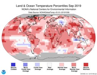 September 2019 Global Temperature Percentiles Map