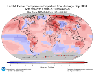 September 2020 Global Land and Ocean Temperature Departures from Average Map