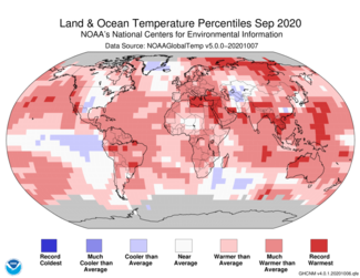 September 2020 Global Land and Ocean Temperature Percentiles Map
