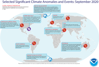 September 2020 Global Land and Ocean Significant Climate Events Map