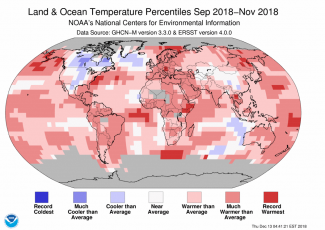 Map of global temperature percentiles for September to November 2018