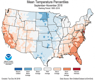 Map of September to November 2018 U.S. average temperature percentiles