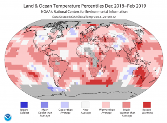 Map of global temperature percentiles for winter December 2018-February 2019