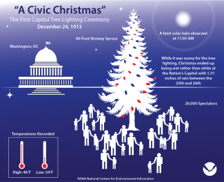 Infographic overview of the first national Christmas celebration in Washington, DC