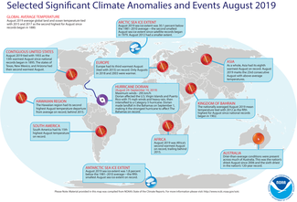 Map of global selected significant climate anomalies and events for August 2019