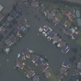 Aerial photo of flooding from Hurricane Harvey in Texas 2017