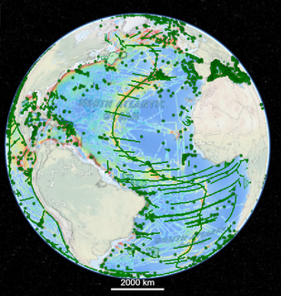 Screenshot of global map showing paths of ships for naming underwater features in the ocean