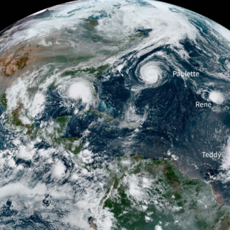 Picture of five named tropical systems in the Atlantic on September 14, 2020