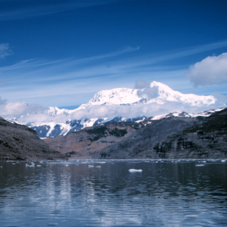 Photo of Mount St. Elias from Icy Bay, South Central Alaska