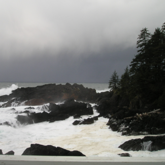 Picture of storm surf at Cape Decision, courtesy of NOAA NWS