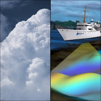 Collage of cloud and ship survey