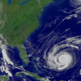 Satellite image of Hurricane Jeanne in the Atlantic Ocean, September 2004