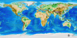 Map of ETOPO1 global elevation model, NOAA NCEI