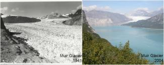 Photos of Muir Glacier in 1941 and 2004