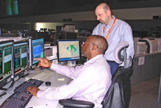 Photo of staff at the NOAA Satellite Operations Control Center