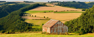 Photo of old barn on hilly agricultural field on sunny day