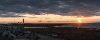 Panoramic photo of Iceland and Lighthouse