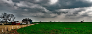 Image of Texas farm and field under an overcast sky