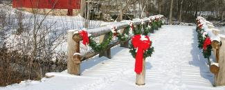 Photo of Christmas snow over a bridge